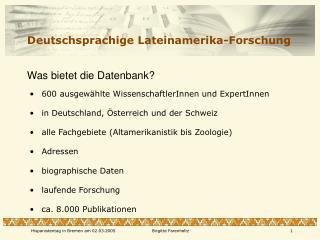Deutschsprachige Lateinamerika-Forschung