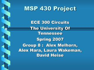 MSP 430 Project