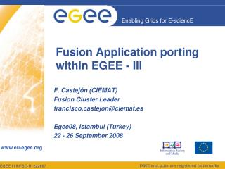 Fusion Application porting  within EGEE - III