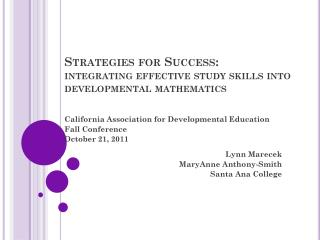 Strategies for Success : integrating effective study skills into developmental mathematics