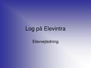 Log på Elevintra