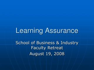Learning Assurance