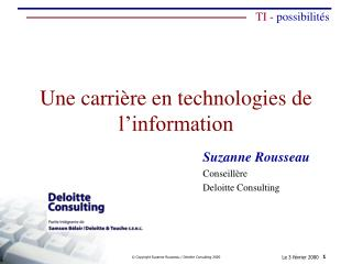 Une carri�re en technologies de l�information