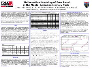 Mathematical Modeling of Free Recall  in the Mental Attention Memory Task