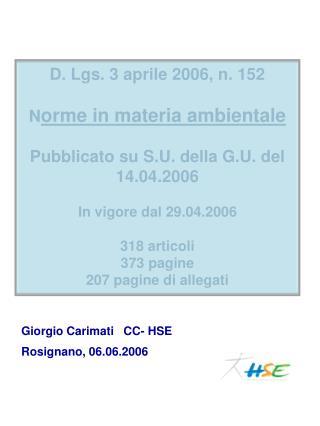 Giorgio Carimati   CC- HSE Rosignano, 06.06.2006