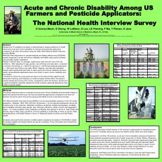 Acute and Chronic Disability Among US Farmers and Pesticide Applicators: