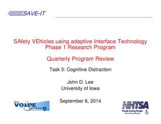 Task 5: Cognitive Distraction John D. Lee University of Iowa September 6, 2014