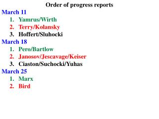 Order of progress reports March 11 Yamrus/Wirth  Terry/Kolansky Hoffert/Sluhocki March 18