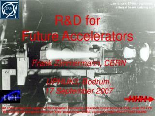 R&D for  Future Accelerators