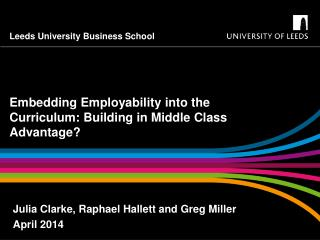 Embedding Employability into the Curriculum: Building in Middle Class Advantage?