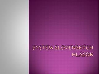 Systém slovenských hlások