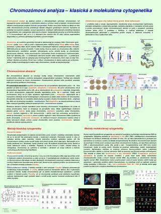 Chromozómová analýza – klasická a molekulárna cytogenetika
