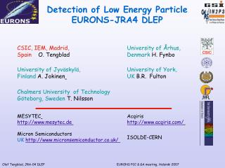 Detection of Low Energy Particle EURONS-JRA4 DLEP
