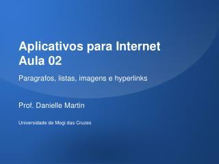 Aplicativos para Internet Aula 02