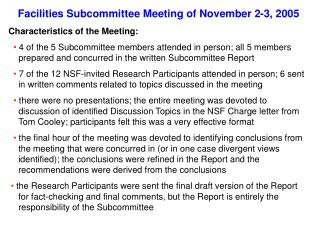 Facilities Subcommittee Meeting of November 2-3, 2005