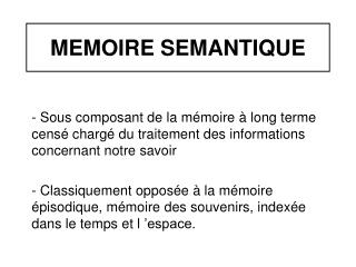 MEMOIRE SEMANTIQUE