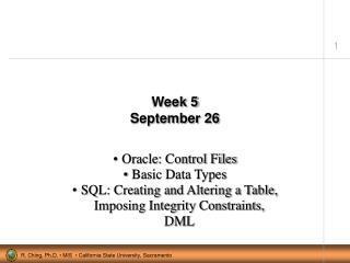 Week 5 September 26