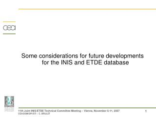 Some considerations for future developments for the INIS and ETDE database