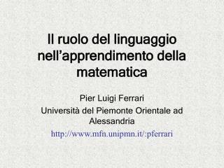 Il ruolo del linguaggio nell'apprendimento della matematica
