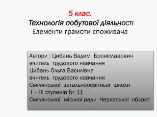 Автори : Цибань Вадим  Броніславович  вчитель  трудового навчання  Цибань Ольга Василівна