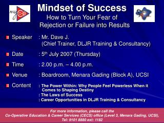 Mindset of Success How to Turn Your Fear of     Rejection or Failure into Results