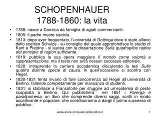 SCHOPENHAUER 1788-1860: la vita