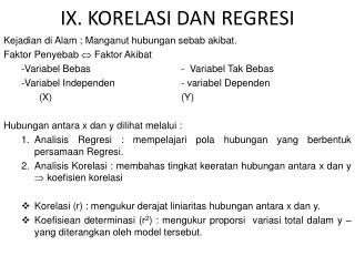 IX. KORELASI DAN REGRESI