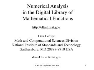 Numerical Analysis in the Digital Library of Mathematical Functions