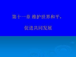 第十一章 维护世界和平, 促进共同发展