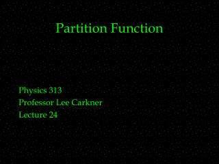 Partition Function