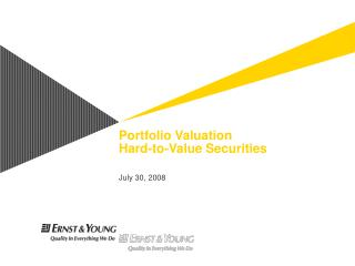 Portfolio Valuation  Hard-to-Value Securities