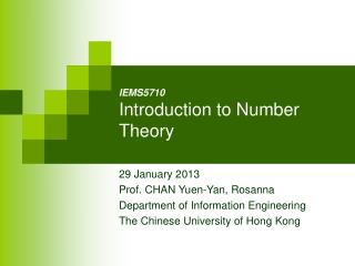 IE MS5710 Introduction to Number Theory