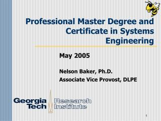 Professional Master Degree and Certificate in Systems Engineering