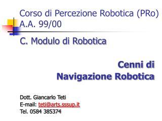 Corso di Percezione Robotica (PRo) A.A. 99/00