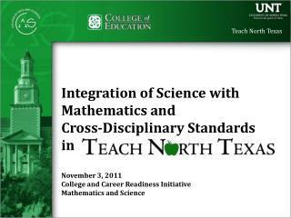 Integration of Science with  Mathematics and  Cross-Disciplinary Standards in November 3, 2011