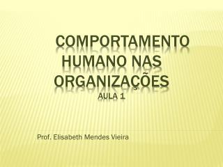 COMPORTAMENTO HUMANO NAS ORGANIZAÇÕES aula 1