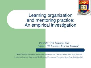 Learning organization  and mentoring practice:  An empirical investigation
