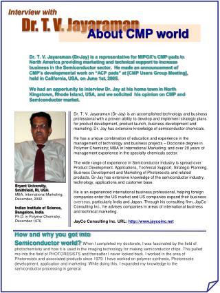 Dr. T. V. Jayaraman