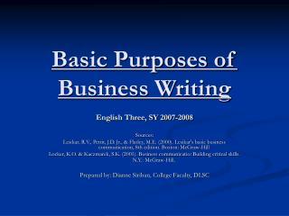 Basic Purposes of Business Writing