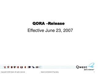QORA –Release