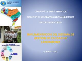 DIRECCION DE SALUD II LIMA SUR DIRECCION DE LABORATORIOS DE SALUD PÙBLICA RED DE LABORATORIOS