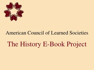 American Council of Learned Societies The History E-Book Project