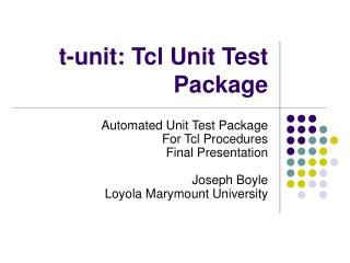 t-unit: Tcl Unit Test Package