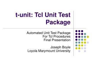 t-unit: Tcl Unit Test Package