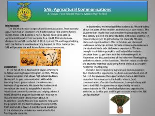 SAE: Agricultural Communications A. Clown.  Food Science Hour 5, Marion High School.