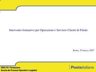 HRO FCI  Formazione Scuola dei Processi Operativi e Logistici