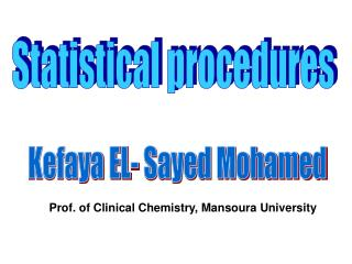 Statistical procedures