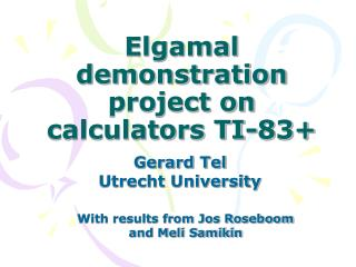Elgamal demonstration project on calculators TI-83+