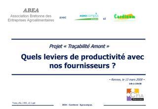 Quels leviers de productivité avec nos fournisseurs ?