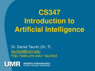 CS347 Introduction to  Artificial Intelligence